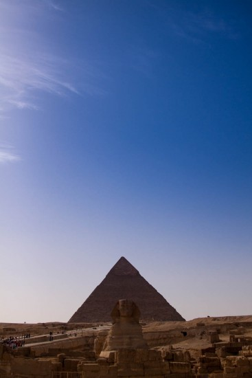 Sphinx and Kheops pyramid