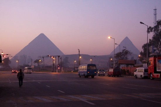Behind the arty pyramids