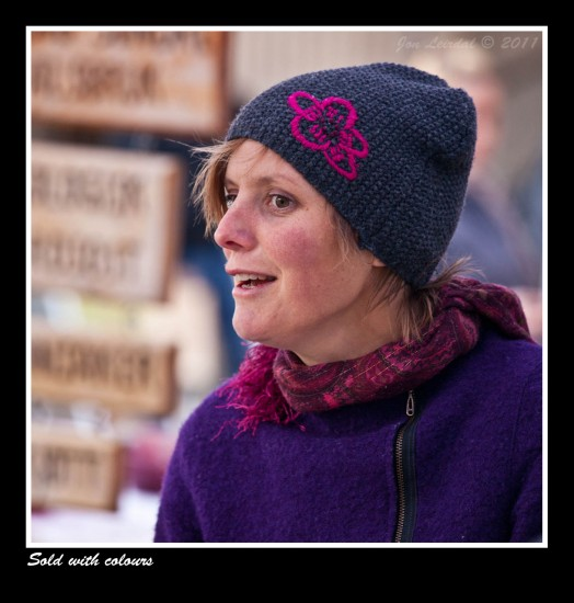 This pink/lilac lady was selling goods at a farmers market in Oslo.