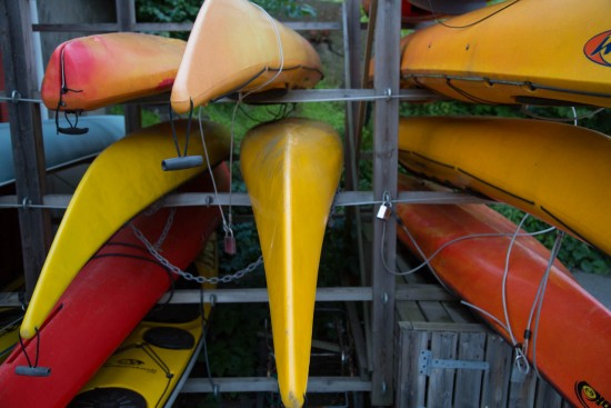 Kayaks in red and yellow